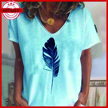 Summer feather print short sleeve women's T-shirt Women Clothes Casual t-shirt Short sleeve round neck Tee Tops abstract print casual long sleeve t shirt
