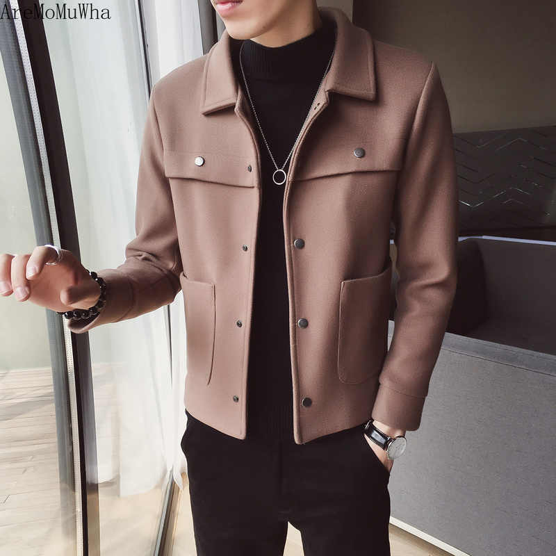AreMoMuWha 2018 新ウールのコートの男性の秋と冬のトレンド肥厚の韓国語バージョンスリムユースツーリングジャケット QX246