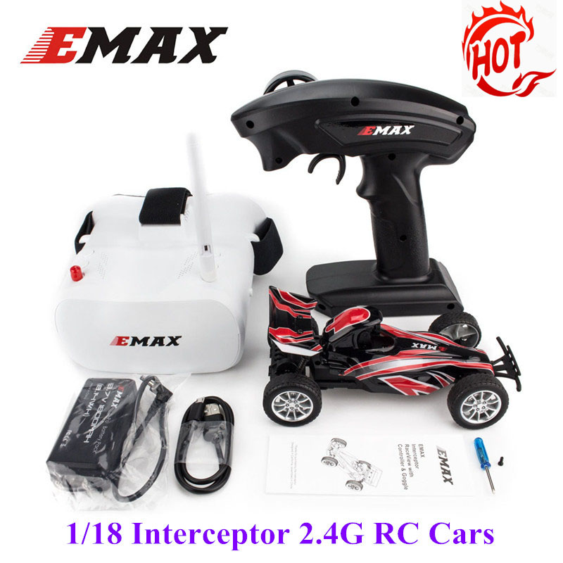 Hot EMAX 1/18 Interceptor 2.4G FPV Full Proportional Remote Control RC Cars RC Toys For Kids Children Gifts RTR Model W/ Glasses