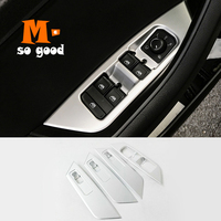 For Skoda Kodiaq Door Window Glass Lift Control Switch Panel Cover Trim 2017 2018 ABS Matte Auto Interior Styling Accessories