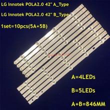 Lámpara tira de LED para iluminación trasera 9 para LG INNOTEK POLA2.0 Pola 2,0 42 TV T420HVN05.0 T420HVN05.2 42LN5300 42LN5406 ZA 42LN5400 42LN5750