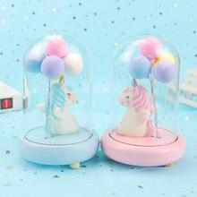 Resin Cute LED Unicorn Balloon Night Light Animal Bedside Lamp Baby Nursery Birthday Christmas Gift For Kids Home Decoration