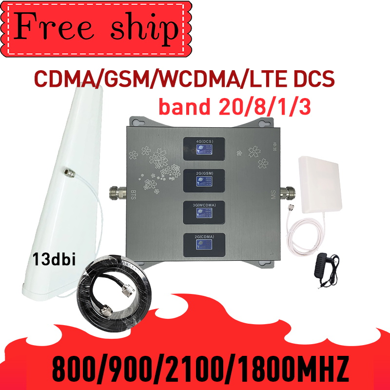 NEW!800/900/1800/2100mhz Cell Phone Booster Four-Band GSM Mobile Signal Booster 2G 3G 4G LTE Cellular Repeater GSM DCS WCDMA LTE