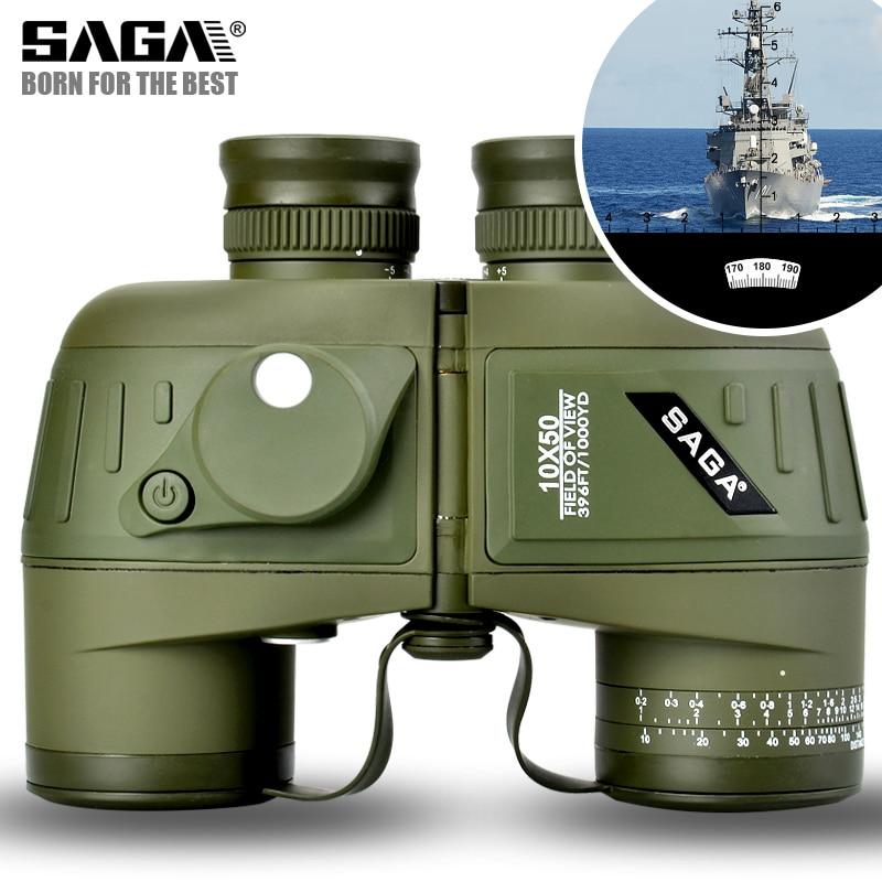 10x50 HD Telescope Navy Marine Binoculars With Compass and Rangefinder Outdoor