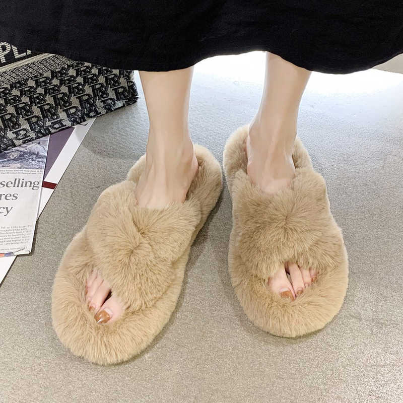 Womens Rabbit Fur Slippers Ladies Indoor Home Furry Soft Slippers Plush Solid Flat Slippers