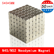 50pcs Neodymium magnet 5x5x5 Rare Earth N45/N52 small Strong permanent 5*5*5mm fridge Electromagnet NdFeB nickle magnetic square цена