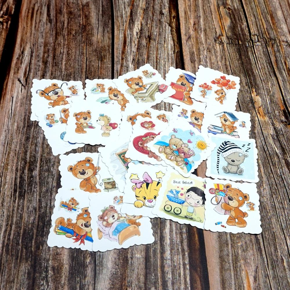 22PCS Cartoon Bears Waterproof Stickers Book Student Label Decorative Stickers Kids Children Girls Toy DIY Diary Animal Stickers