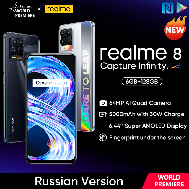 """[World Premiere In Stock] realme 8 Smartphone 64MP Quad Camera Helio G95 6.44""""inch AMOLED Display 5000mAh Battery 30W Charge 1"""