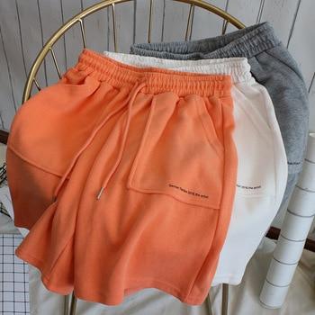 Wasteheart Summer Women Fashion Black Orange Shorts Tie Fly Sexy Formal High Waist Street Style Biker Sports Casual