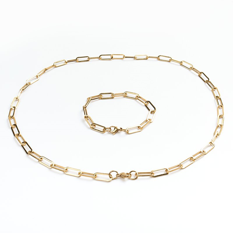1 Set New 304 Stainless Steel Paperclip Chains Necklace Bracelets Set Gold Silver Color 4mm 6mm Oval Link Cable Jewelry Gifts