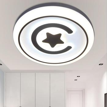 Modern simple black & white geometric circular personalized Ceiling Lamp bedroom acrylic led ceiling lamp