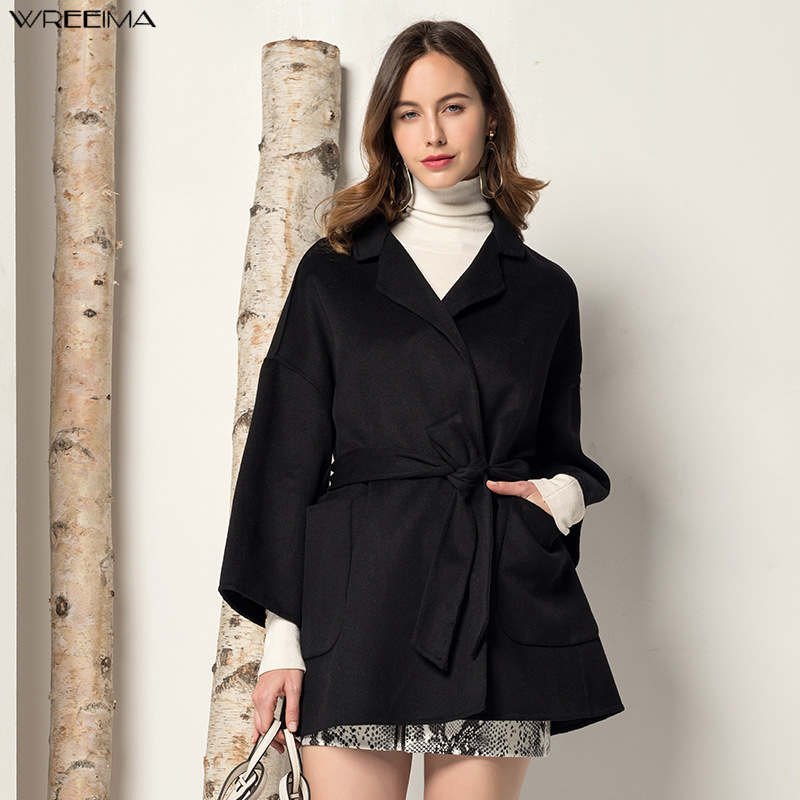 Manteau en laine femme couronne haute qualité automne hiver veste femmes Slim laine Long cachemire manteaux vestes élégant mélange 2019