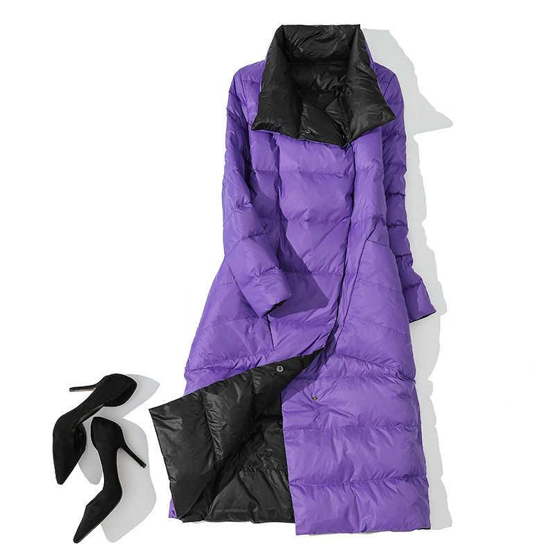 Осенне-зимний женский Двухсторонний пуховик, 90% белый утиный пух, пальто, парки, женские повседневные Модные Длинные пуховики, верхняя одежда
