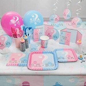 Image 5 - 1set Pink Blue BABY SHOWER Decoration Banner Paper Garland Tableware set Genderl Reveal BabyShower Boy Girl Party Supplies