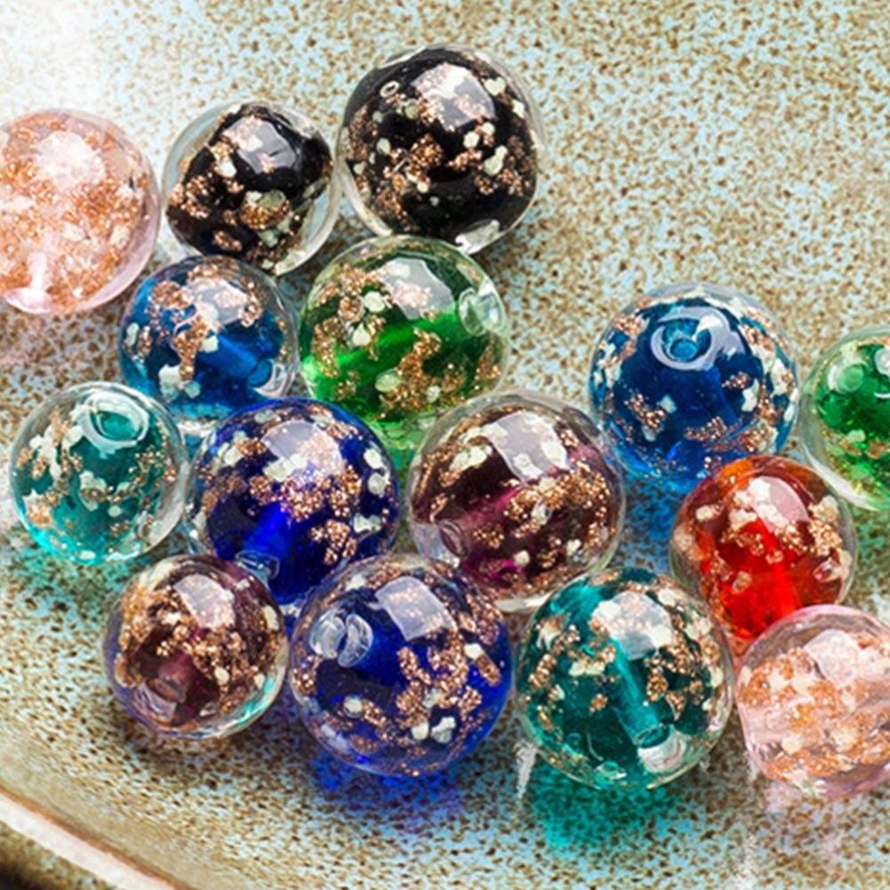 10pcs/lot 8mm Round Illuminated Flower Glass Loose Beads Luminous Lampwork Beads Handmade Crystal DIY Sewing  Makings