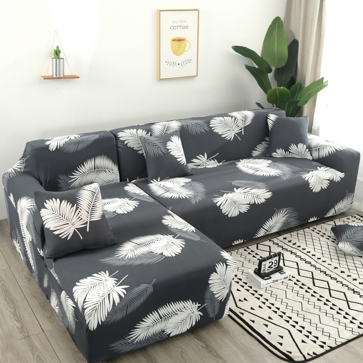 Us 4 9 50 Off Leaves Print Sectional Sofa Cover Set Elastic Stretch L Shaped Slipcover For Chaise Longue Living Room Furniture Protector 2pcs On