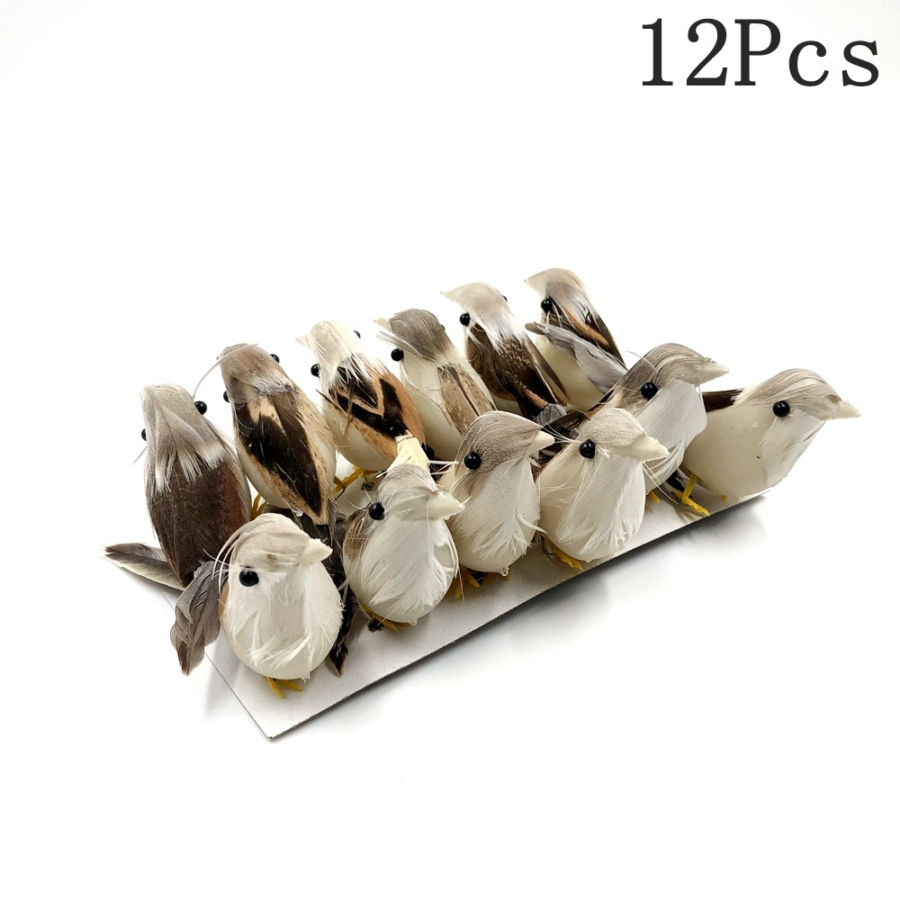 12PC 3D Feather Foam Artificial White Dove Party Wedding Decoration Simulation Bird Sparrow Doves Mini Cute Foam Bird Model 4