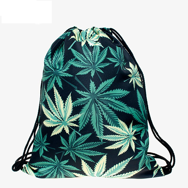 Hemp Leaves Backpack Drawstring BAGS Drawstring Fashion 3D Printing Softback Bags Women's Shoulder Bag Knapsack Women Femtie New