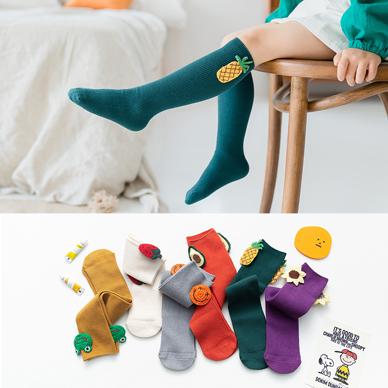 Cute Girl Kids Cartoon Solid Color Socks Spring Autumn Children Fashion Knee High Long Baby Soft Cotton Warm Socks 1 To 8 Years