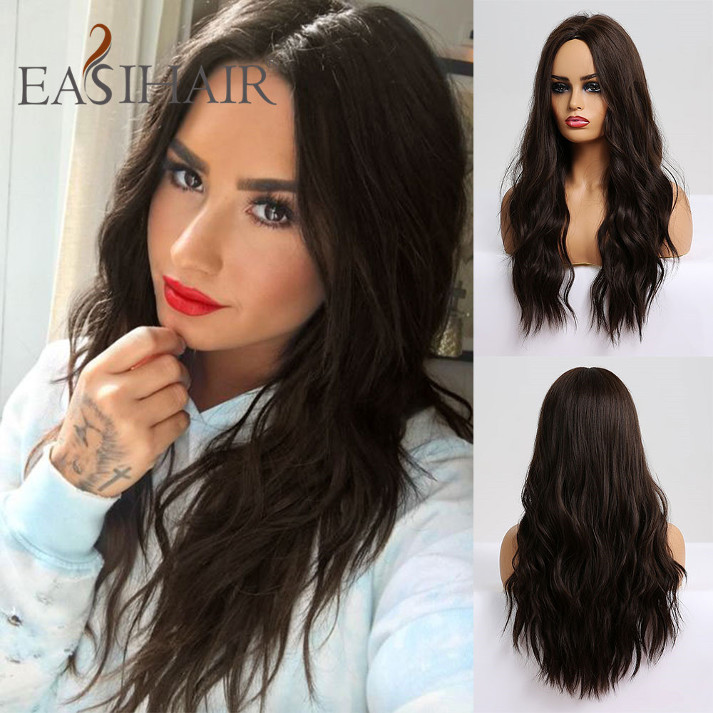 EASIHAIR Long Wave Synthetic Wigs Ombre Wigs For Women African American Heat Resistant Wavy Cosplay Lolita Wigs Fake Hair