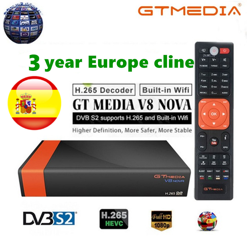 GTMedia V8 Nova DVB-S2 Satellite Receiver H.265 Built-in WIFI+ 3 Years  Europe Spain CCcam TV Box New Version Of Freesat V8 Nova