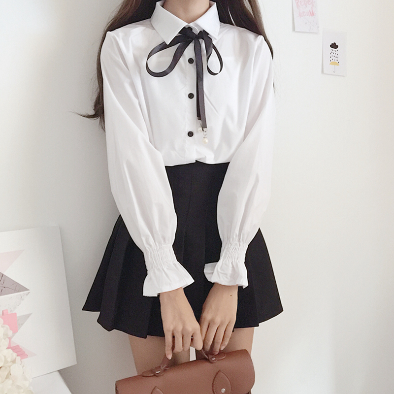 New Cute Bow College Wind Shirt Female Flare Sleeve Women Blouse Harajuku Uniform Shirt Lace Up White Blouses Woman Tops