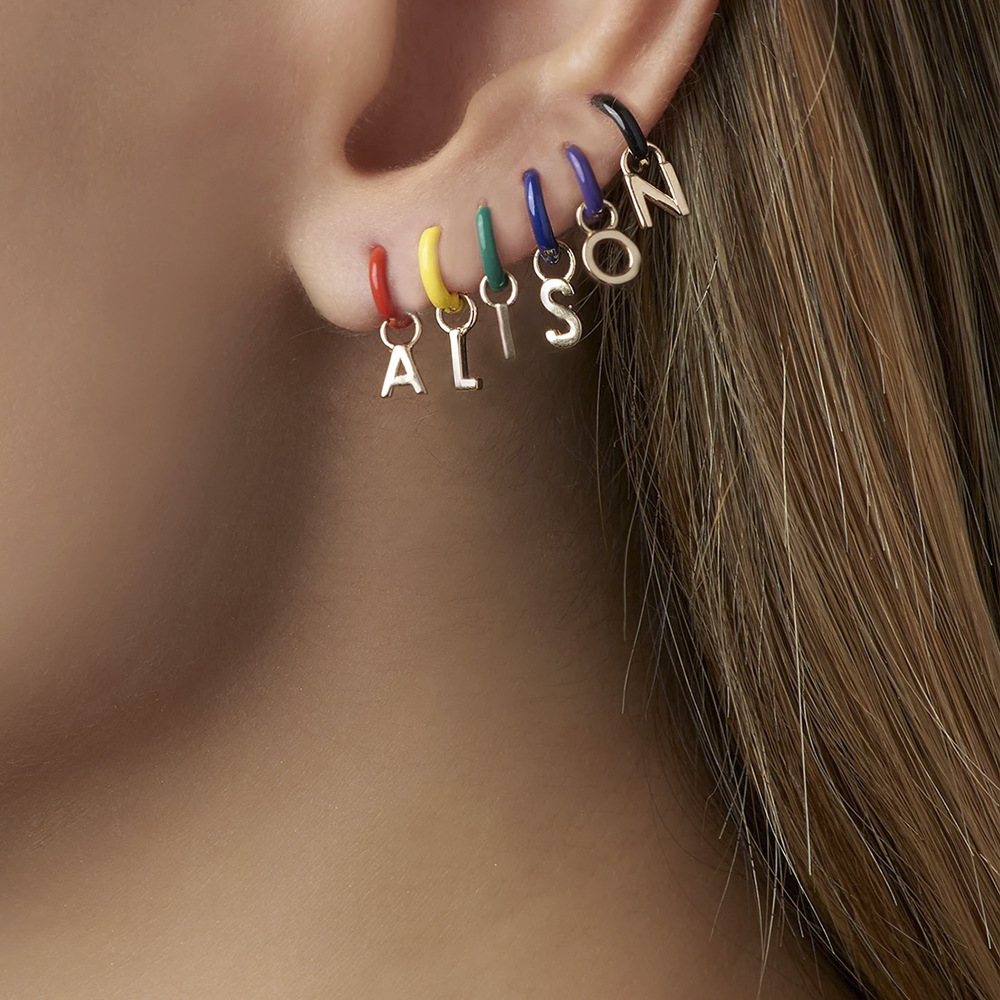 Fashion DIY <font><b>Lock</b></font> Key <font><b>Heart</b></font> 1-9 Number 26 Letters Charm Initial <font><b>Earrings</b></font> Colorful Enamel Small Huggie <font><b>Earrings</b></font> For Women image