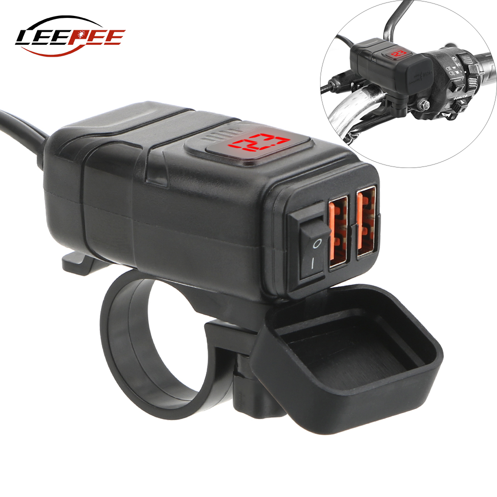 LEEPEE Dual QC 3 0 Quick Charger USB Motorcycle Moto Accessories Motorbike USB Digital Voltmeter Adapter For Mobile Phone