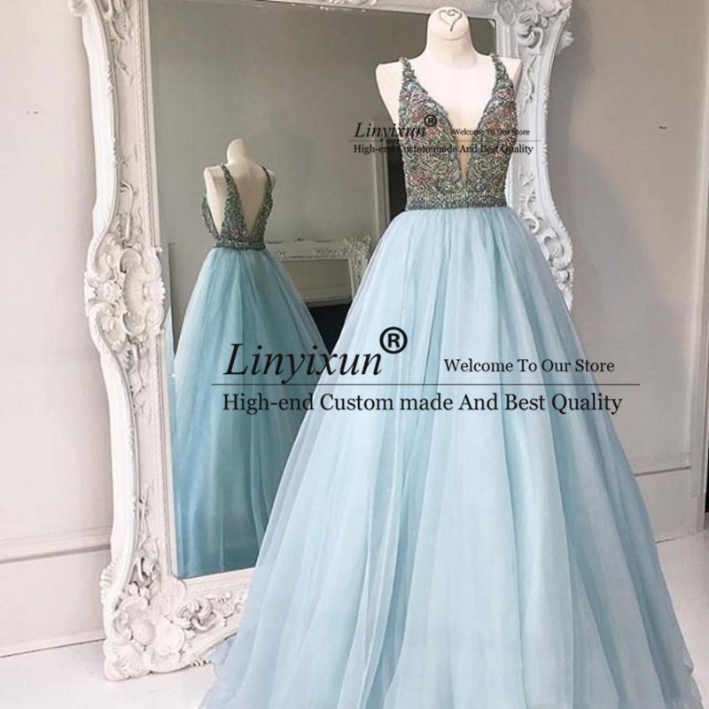 Hot Sale Elegant Sky Blue V-neck Tulle A-line Long   Prom     Dresses   Sweep Train Beaded Formal Evening Gowns Backless   Prom     Dress