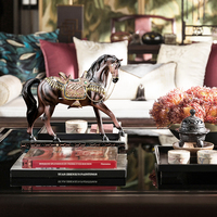 Crafted Mosaic Glass Horse Statue Animal Figurines For Home Decoration For War Horse Lovers Living Room Bedroom Office Decor