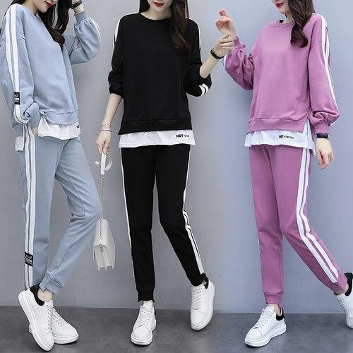 Plus Size Women Tracksuits Sportswear Ensemble Femme 2 Piece Sets Womens Outfits Korean Women's Tracksuits Loose Top&pants Set