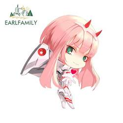 EARLFAMILY 13cm x 11.1cm For Zero Two Darling In The FranXX Car Stickers Repair Decals Scratch-Proof Waterproof Decoration