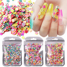 1000 шт украшения для ногтей мягкая глина кусочки фруктов перо