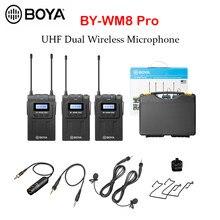 Boya BY-WM8 pro k1 k2 BY-WM4 pro microfone uhf dupla sem fio condensador microfone entrevista microfone para iphone dslr câmera de vídeo