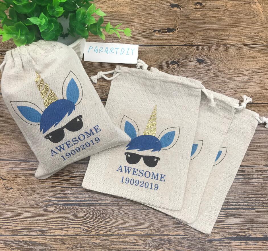 Personalised Cute Woodland Animals Kids Sports Swimming School Drawstring Bag