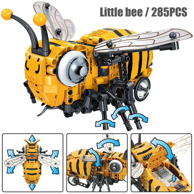 Creative Simulated Insect Electric Bee Fly Building Blocks  Technic MOC DIY Insect Model Building Bricks Toys for Boys