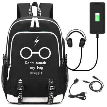 IMIDO Luminous Students Backpacks Men Large Capacity USB Charging Schoolbag For Teenagers Black Canvas Letter Print Travel Bag - DISCOUNT ITEM  48 OFF Luggage & Bags