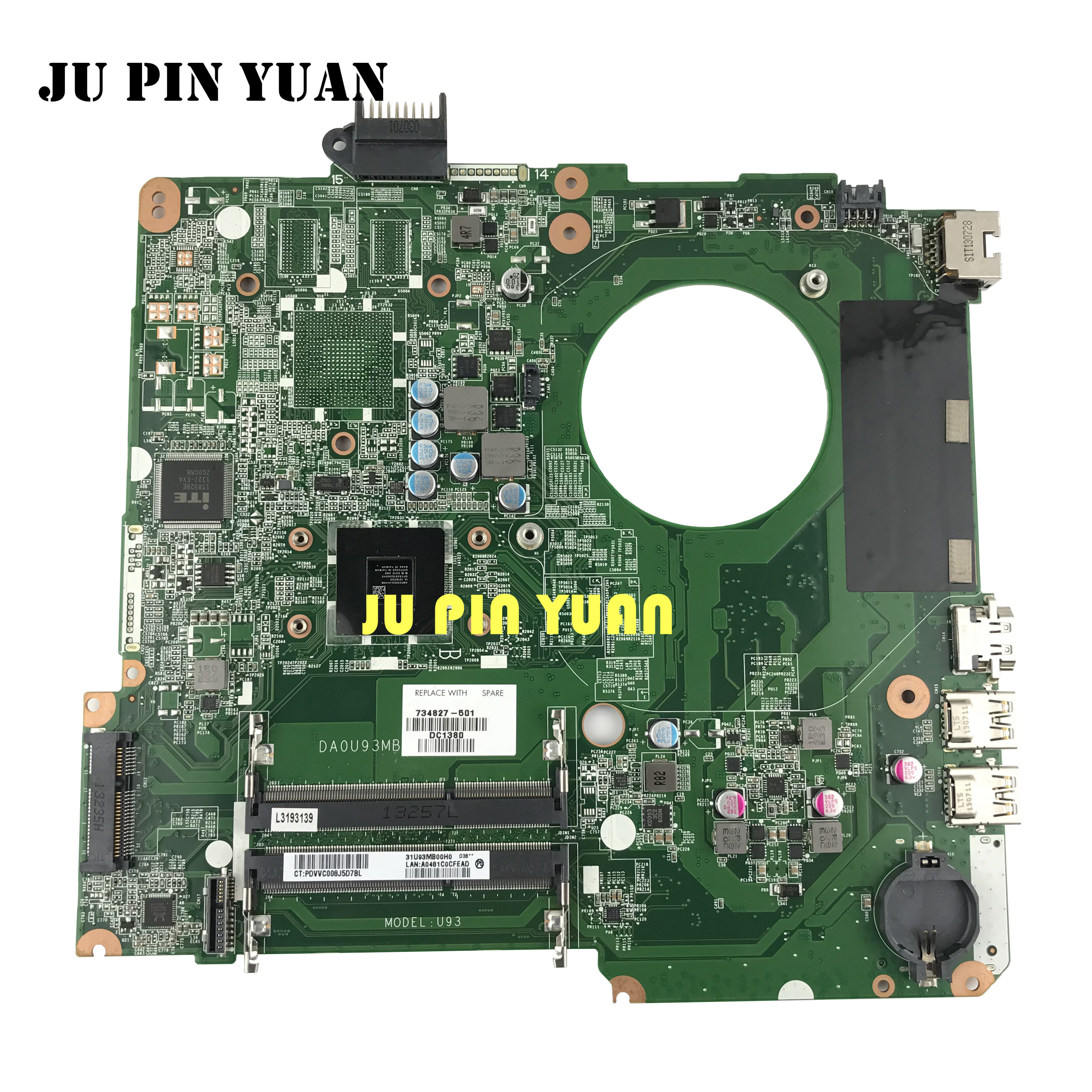 JU PIN YUAN 734827 501 734827 001 U93 For HP PAVILION TOUCHSMART 15T N 15 N laptop motherboard DA0U93MB6D0 REV:D with A6 5200M|Motherboards| |  - title=