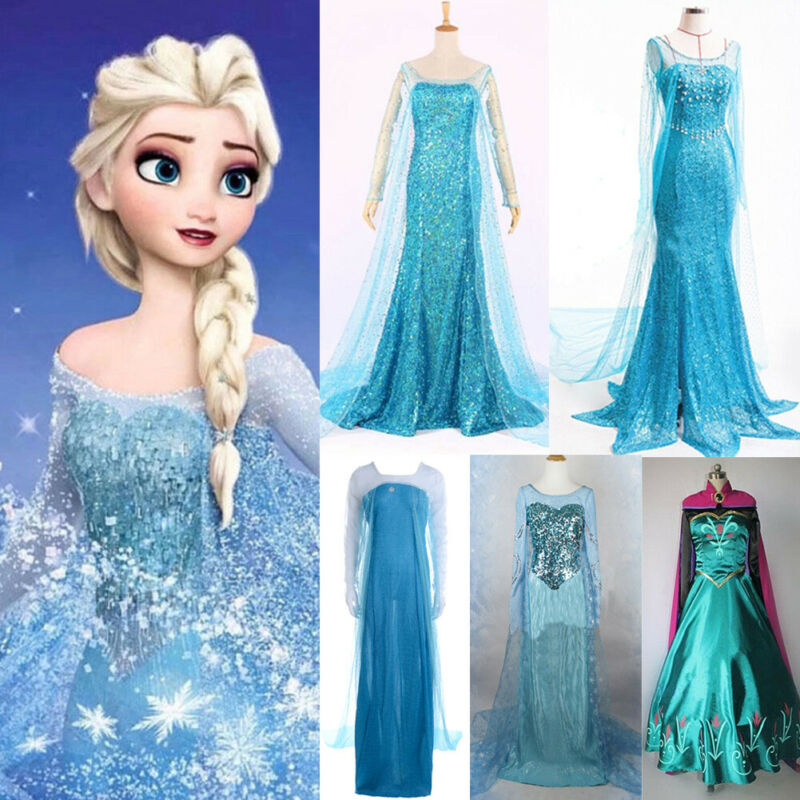 Elza Dress Frozen Elsa Anna Women Maxi Long Cosplay Halloween Princess Party Dresses Costume 2019