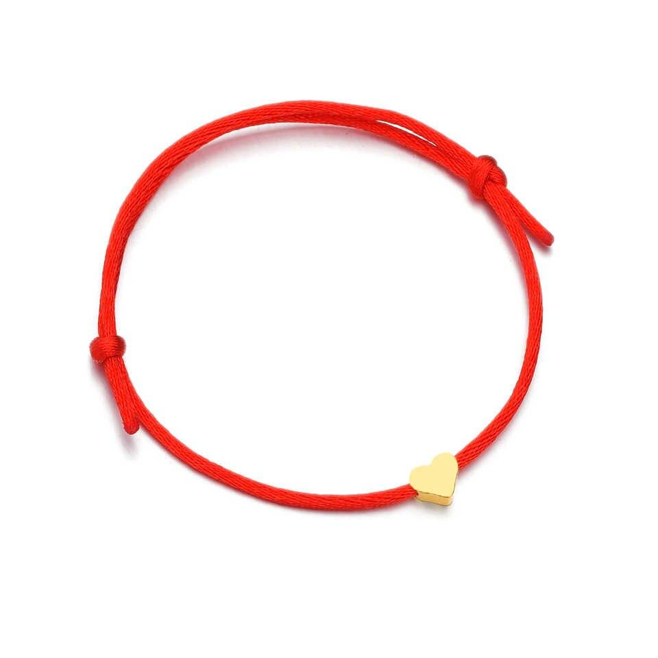 シルバーゴールドハート調節可能な赤ロープのブレスレット男性子供赤文字列彼 & 彼女マッチングペアブレスレット & カップル