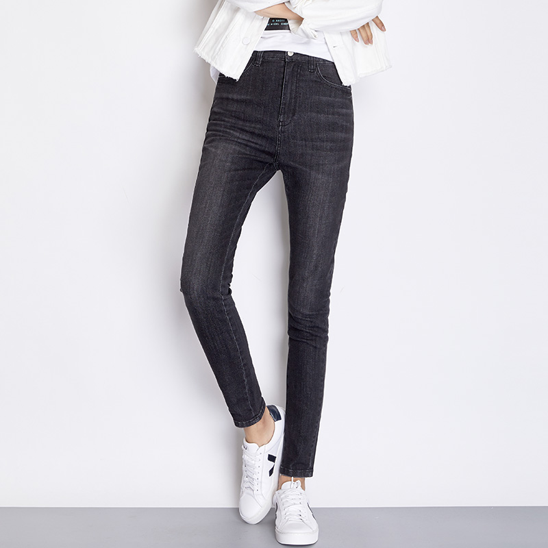 LEIJIJEANS New Arrival Spring  Black Jeans Classic High Waist Slim Feet Women Plus Size Jeans Skinny Pencil Jeans 7252