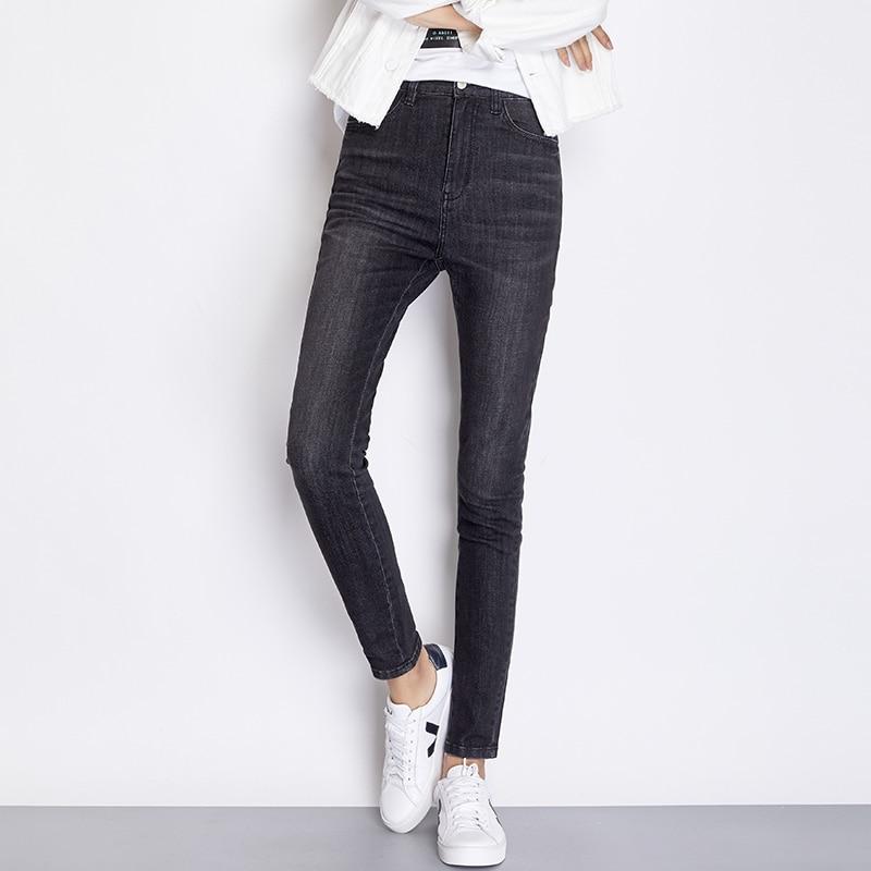 LEIJIJEANS New Arrival Spring  Black Jeans Classic High Waist Slim Feet Women Plus Size Jeans Skinny Pencil Jeans 7252