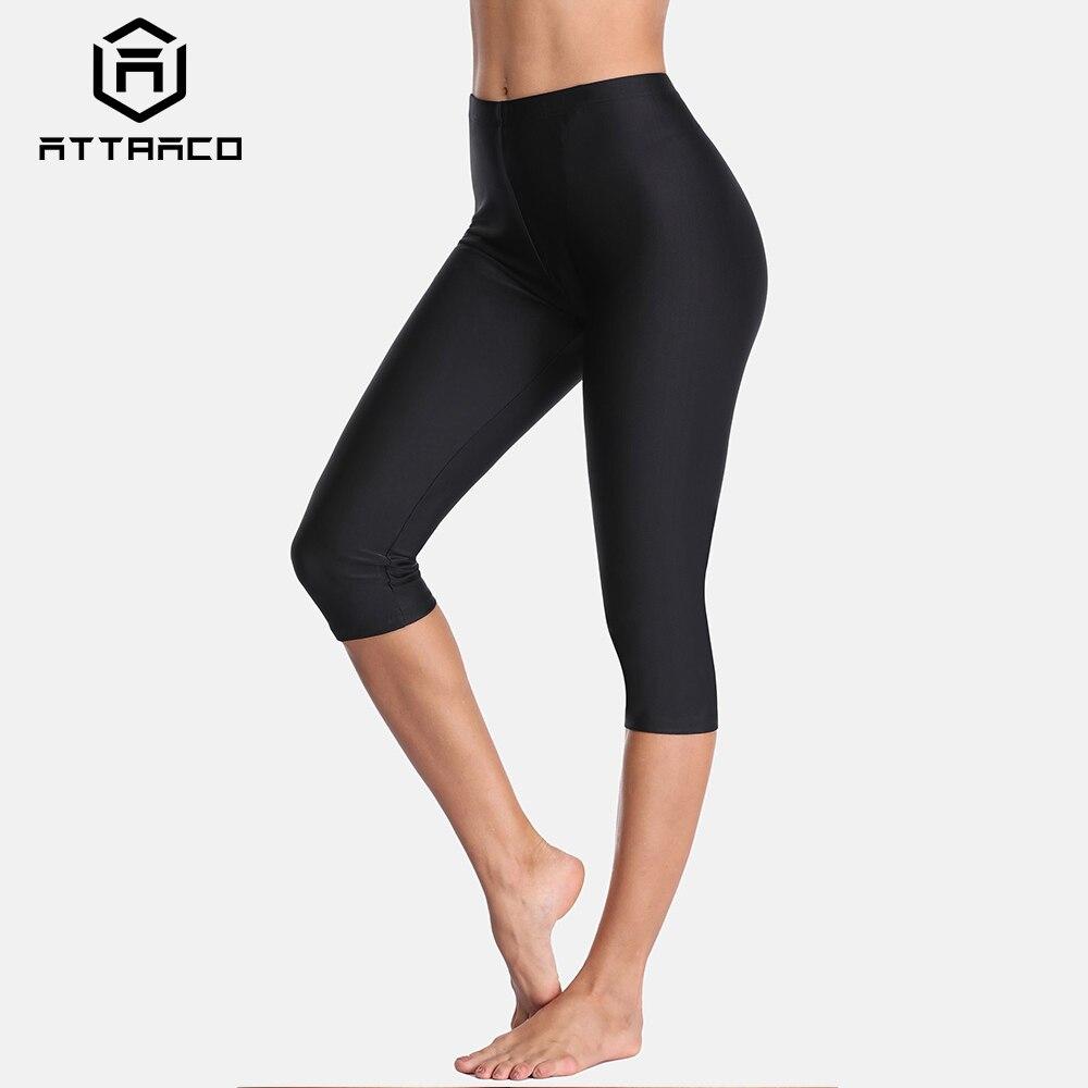 Attraco Women High Waist Swimming Pants Ladies Tankini Bottom Solid Swimwear Capris Boardshort Bottoms