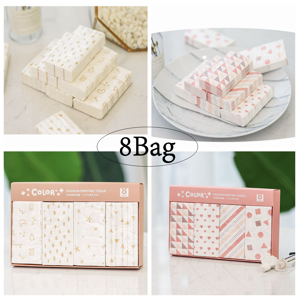 8Bag Mini Paper Paper Outdoors Sports&Travel Using Napkin Portable Toilet Paper Facial Cleaning Tissue Super Soft Skin-friendly