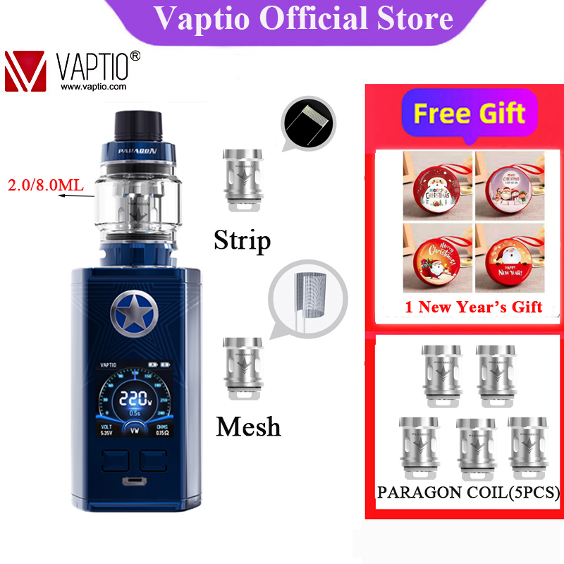 【New Year's Gifts】 Electronic Cigarette Vaptio CAPT'N Paragon Kit 8ml Atomizer Top Filling With 220w Box Mod Fit 510ThreadTank