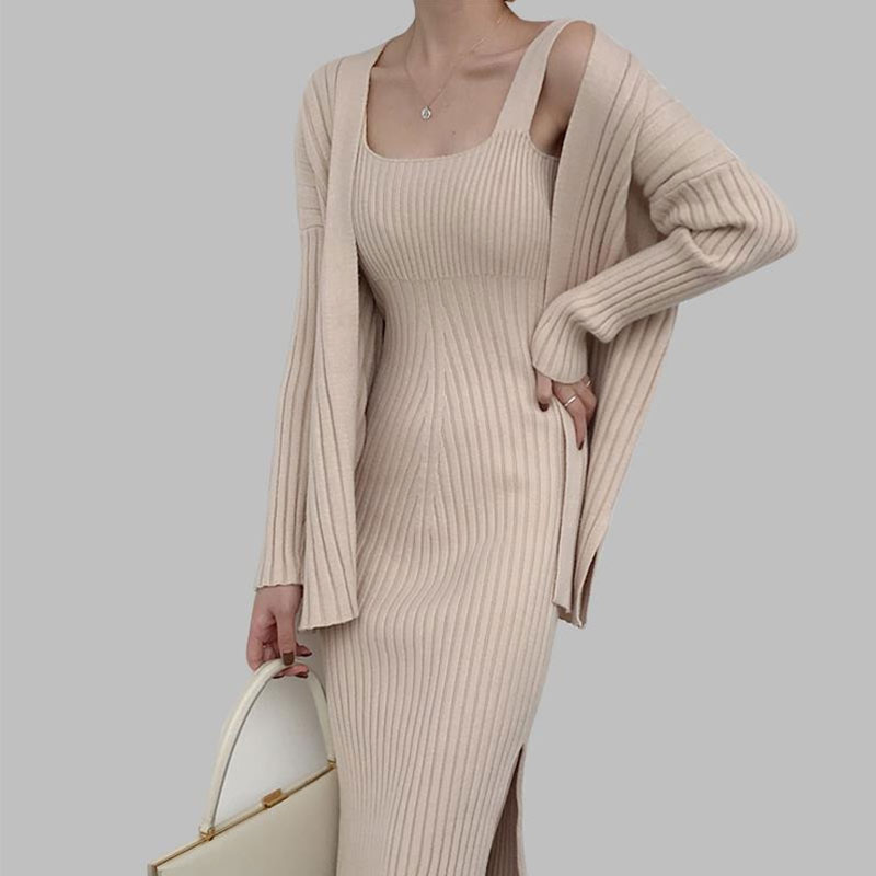 2019 New High Quality Winter Women's Casual Long Sleeved Cardigan + Suspenders Sweater Vest Dress Two Piece Runway Dress Suit