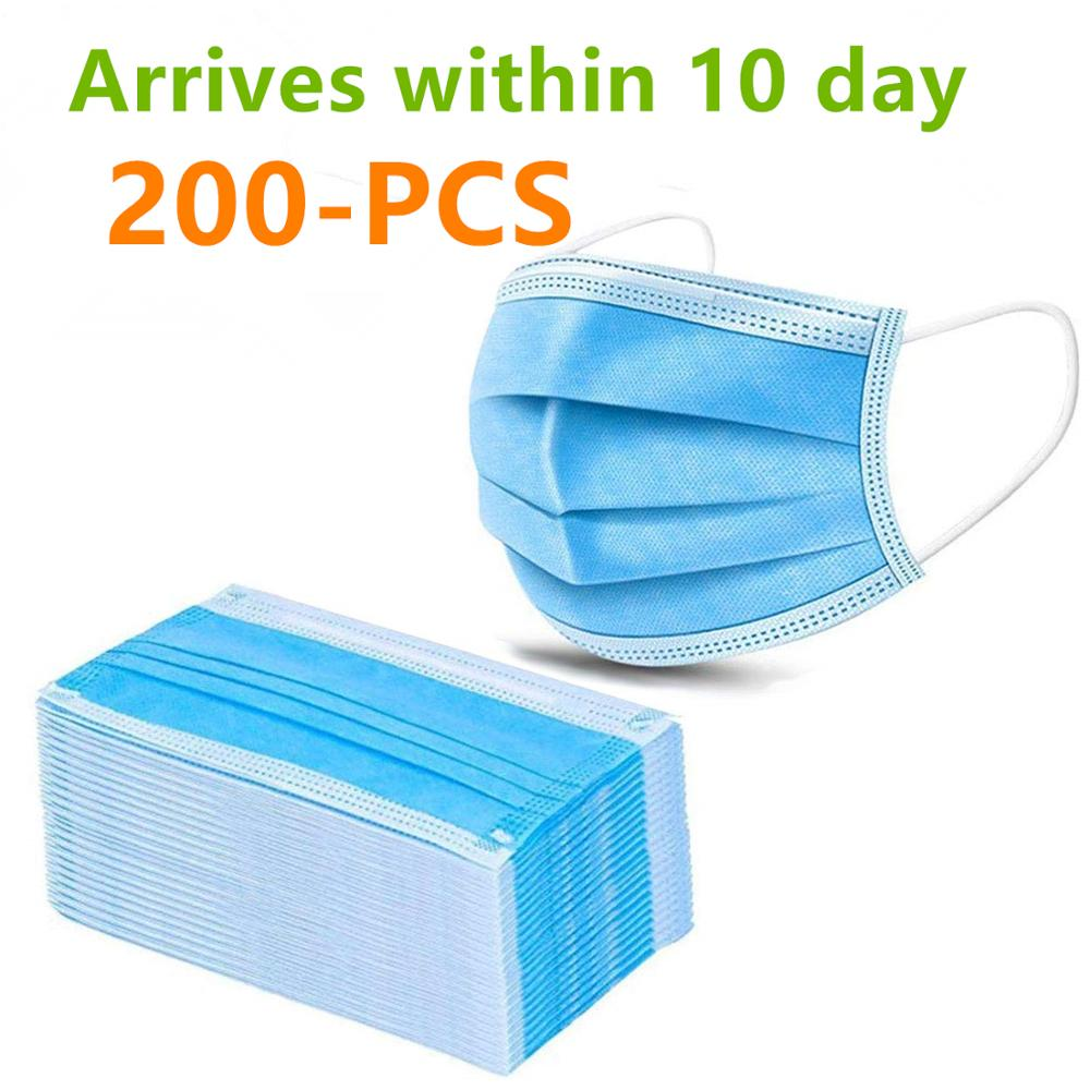 (200PCS)3 Ply Disposable Mask With Elastic Ear Loops Soft & Comfortable Filter Safety Mask For Dust Protection Protective