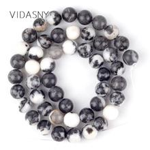 Black White Zebra Jaspers Natural Gem Stone Beads Round Spacer For Jewelry Making 4/6/8/10/12mm Diy Bracelet Necklace 15