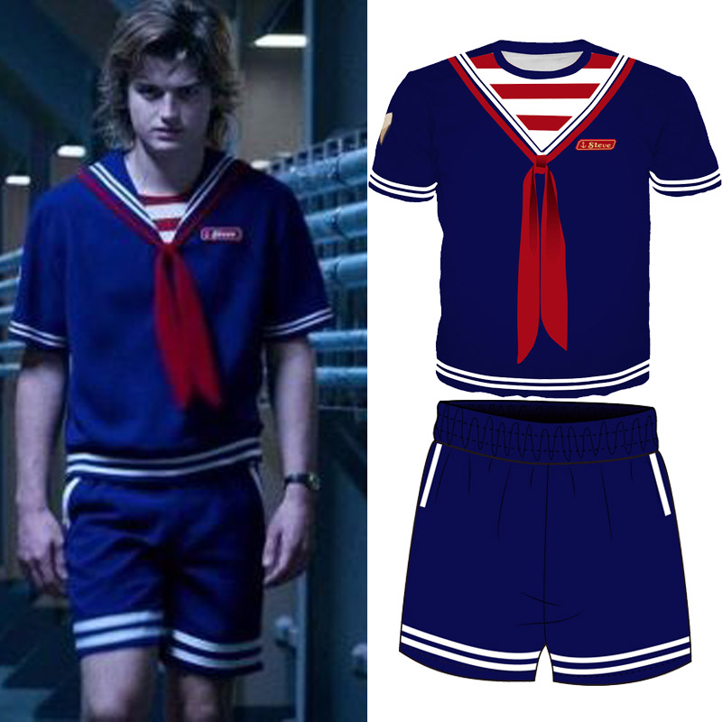 Stranger Things 3 T Shirt 3d Tee Shirt Steve Harrington Eleven Navy Blue Tshirt Top Tee Shorts Full Set