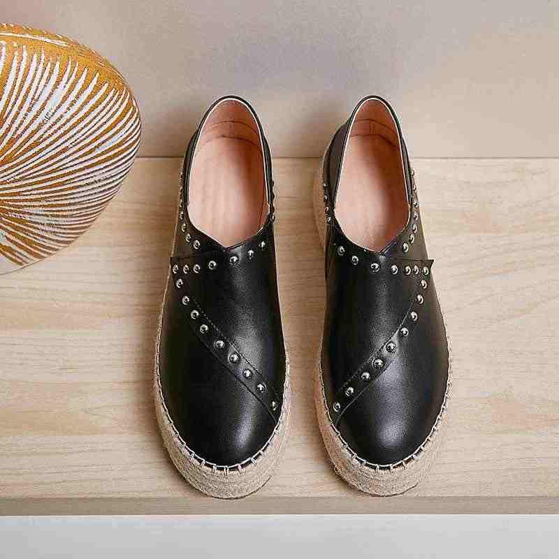 Lenkisen hot solid fashion klinknagels echt leer weave dikke bodem schoenen ronde neus hoge hakken slip op herfst vrouwen pompen l97